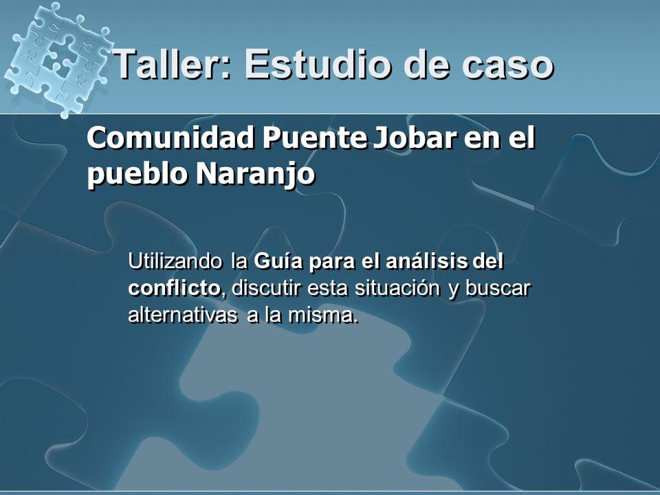 Taller: Estudio de caso Comunidad Puente Jobar en el pueblo Naranjo Utilizando la Guía para el análisis del conflicto, discutir esta situación y busca