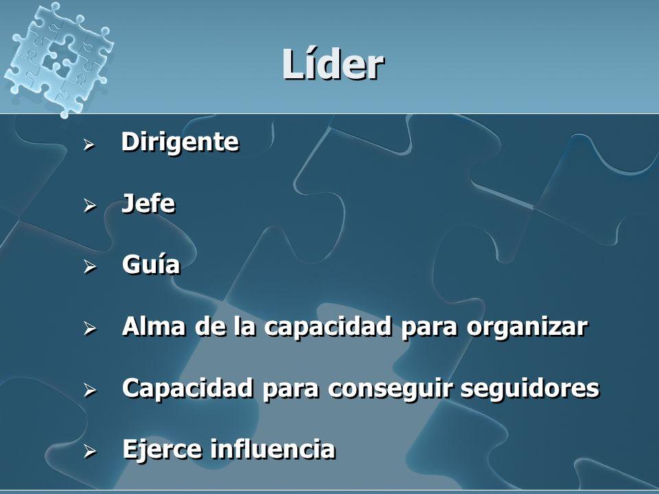 Líder Dirigente Jefe Guía Alma de la capacidad para organizar Capacidad para conseguir seguidores Ejerce influencia Dirigente Jefe Guía Alma de la cap