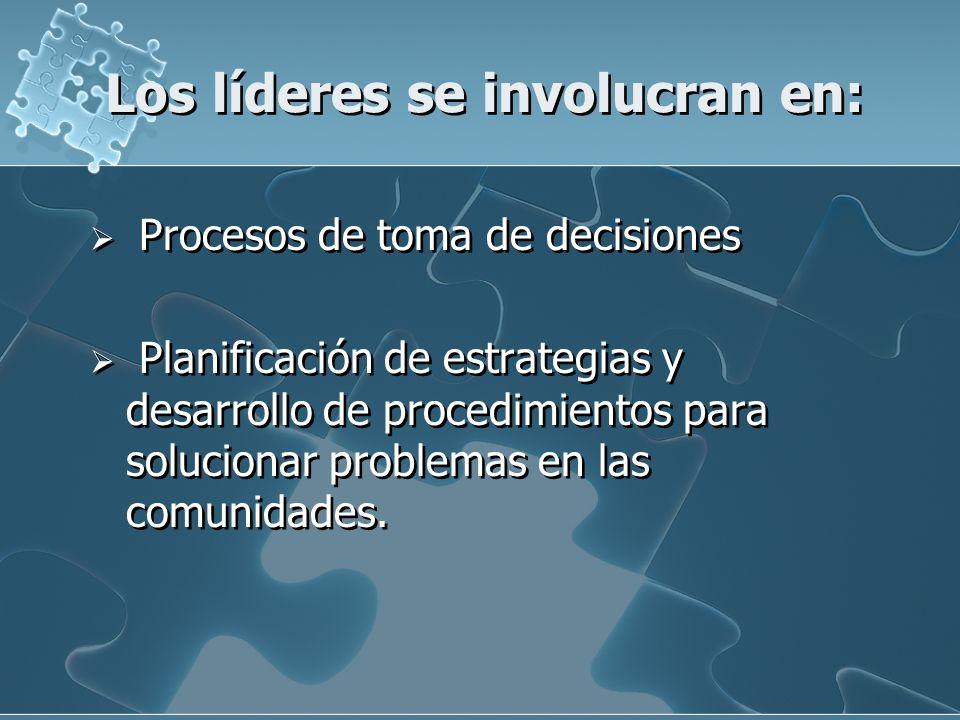 Los líderes se involucran en: Procesos de toma de decisiones Planificación de estrategias y desarrollo de procedimientos para solucionar problemas en