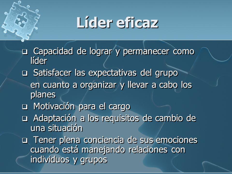 Líder eficaz Capacidad de lograr y permanecer como líder Satisfacer las expectativas del grupo en cuanto a organizar y llevar a cabo los planes Motiva