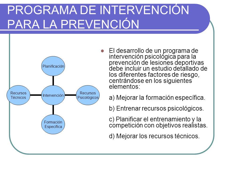 PROGRAMA DE INTERVENCIÓN PARA LA PREVENCIÓN El desarrollo de un programa de intervención psicológica para la prevención de lesiones deportivas debe in