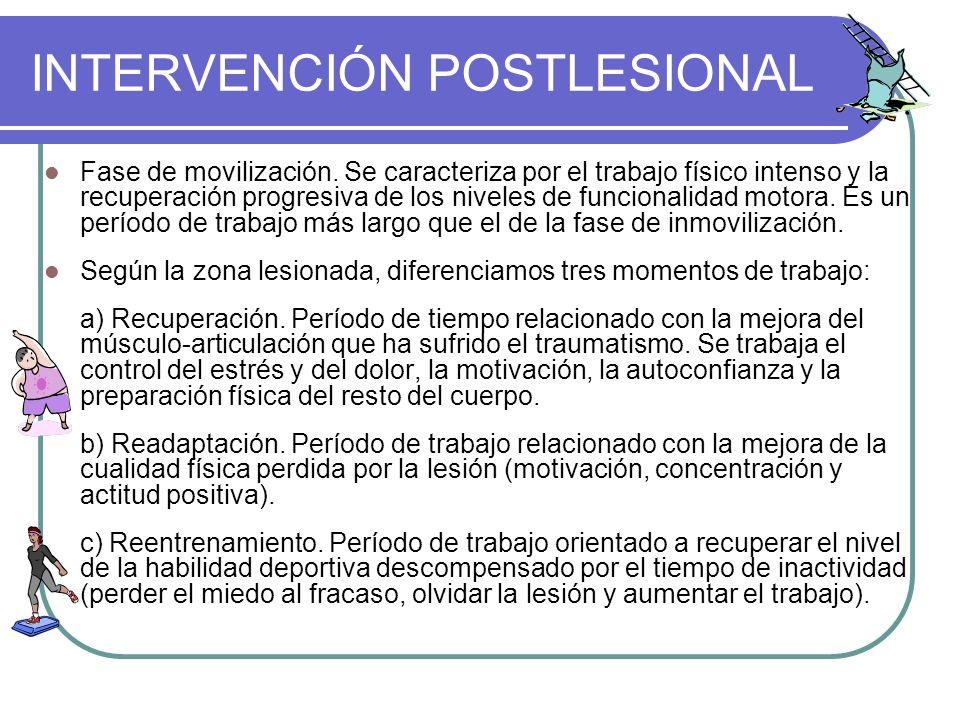 INTERVENCIÓN POSTLESIONAL Fase de movilización. Se caracteriza por el trabajo físico intenso y la recuperación progresiva de los niveles de funcionali