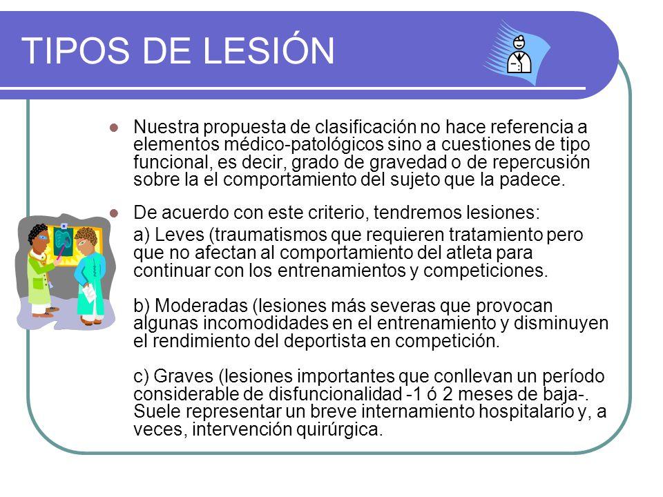 TIPOS DE LESIÓN Nuestra propuesta de clasificación no hace referencia a elementos médico-patológicos sino a cuestiones de tipo funcional, es decir, gr