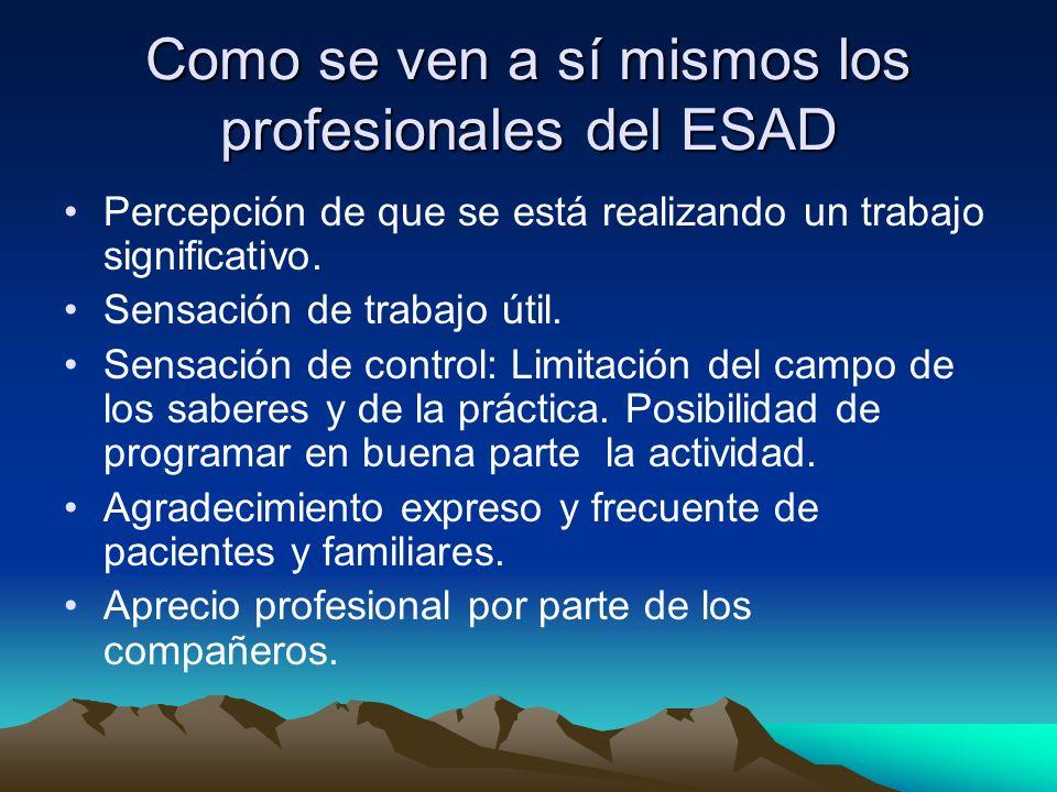 Como se ven a sí mismos los profesionales del ESAD Percepción de que se está realizando un trabajo significativo. Sensación de trabajo útil. Sensación