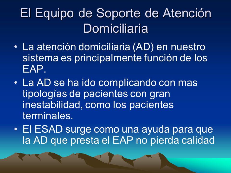 El Equipo de Soporte de Atención Domiciliaria La atención domiciliaria (AD) en nuestro sistema es principalmente función de los EAP. La AD se ha ido c