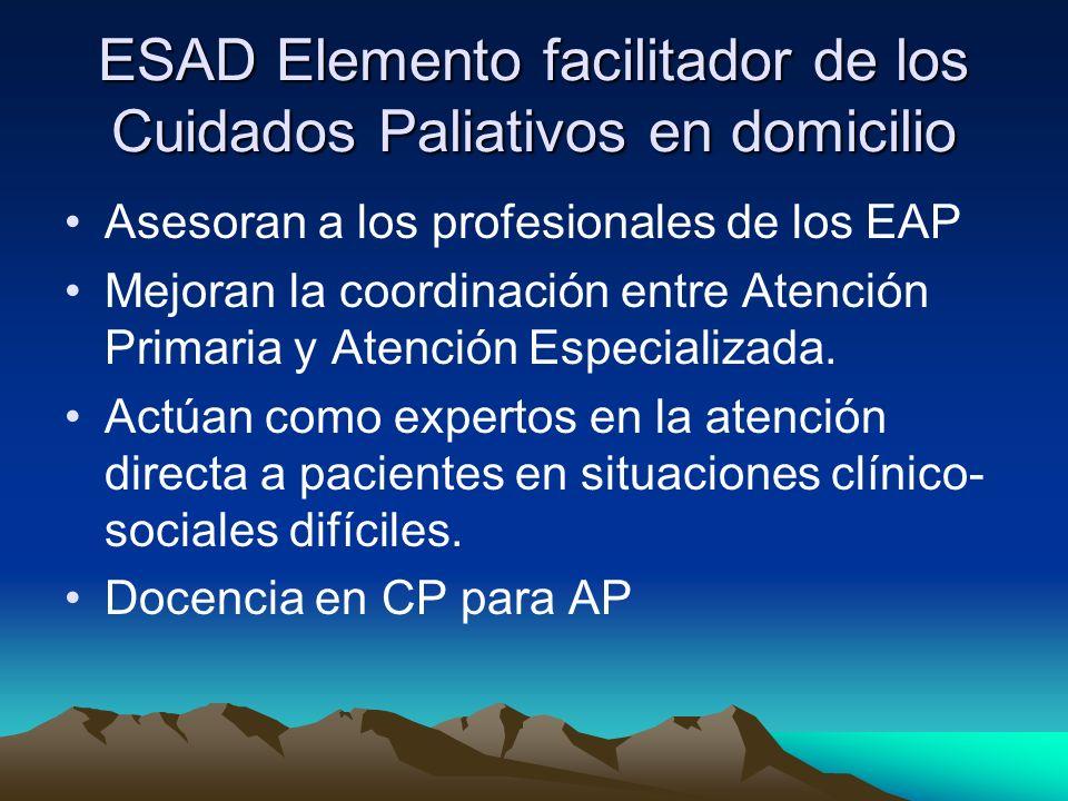 ESAD Elemento facilitador de los Cuidados Paliativos en domicilio Asesoran a los profesionales de los EAP Mejoran la coordinación entre Atención Prima