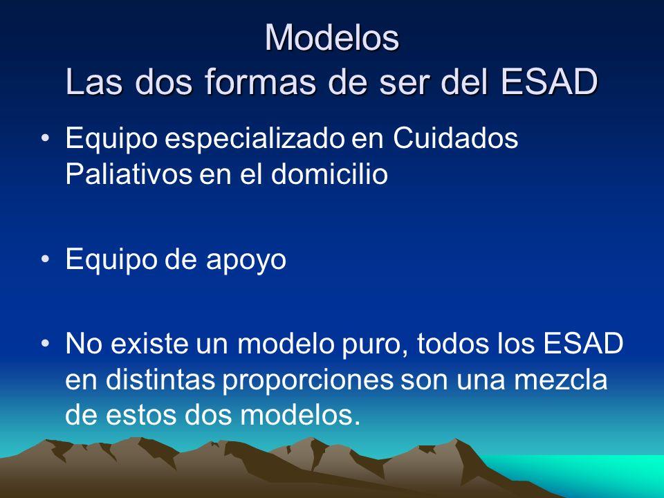 Modelos Las dos formas de ser del ESAD Equipo especializado en Cuidados Paliativos en el domicilio Equipo de apoyo No existe un modelo puro, todos los