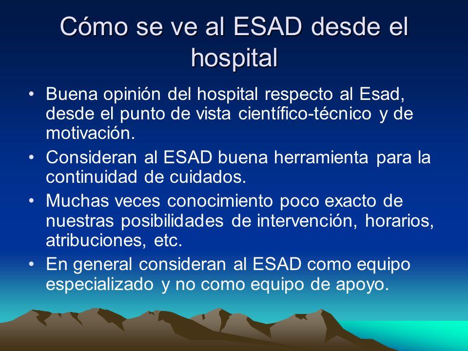 Como se ve al ESAD desde el hospital (II) Falsas ideas del ESAD: horario ilimitado, visitas domiciliarias ilimitadas, actividad ilimitada (sanitario, social, ) Se usa al ESAD para convencer del alta hospitalaria a los reacios exagerando nuestras prestaciones.