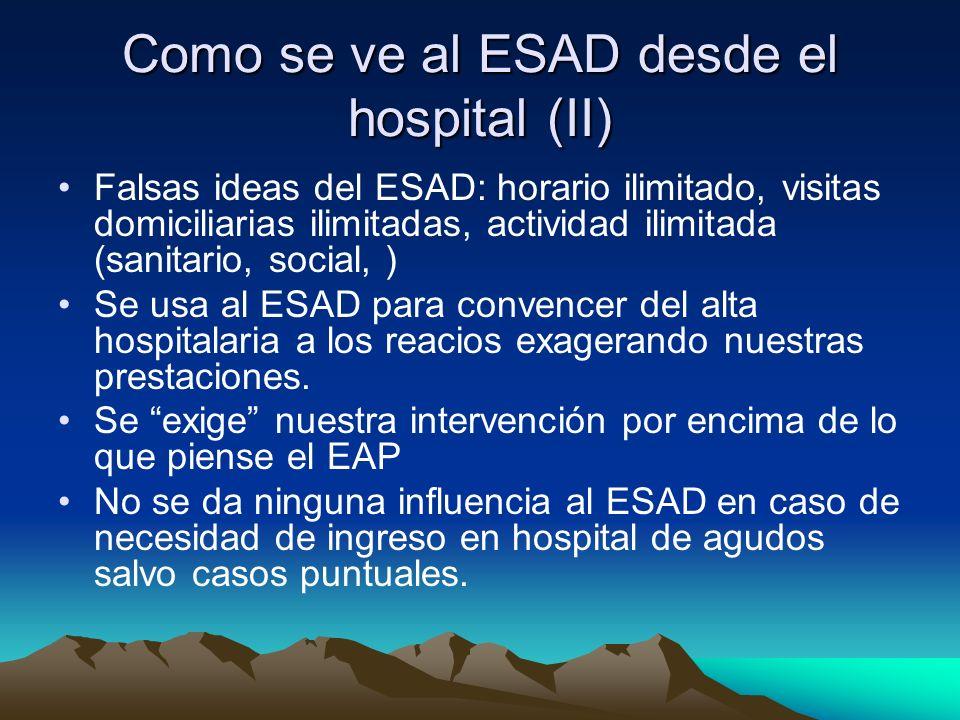 Como se ve al ESAD desde el hospital (II) Falsas ideas del ESAD: horario ilimitado, visitas domiciliarias ilimitadas, actividad ilimitada (sanitario,