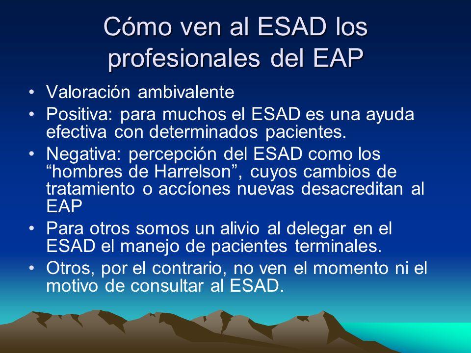 Cómo ven al ESAD los profesionales del EAP Valoración ambivalente Positiva: para muchos el ESAD es una ayuda efectiva con determinados pacientes. Nega