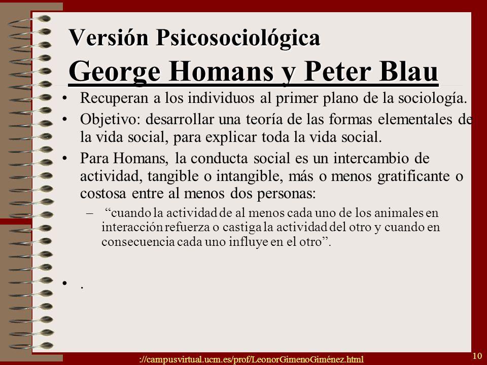 ://campusvirtual.ucm.es/prof/LeonorGimenoGiménez.html 10 Versión Psicosociológica George Homans y Peter Blau Recuperan a los individuos al primer plan