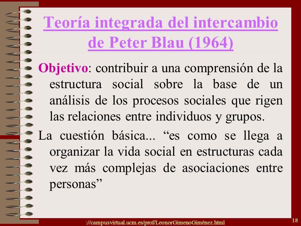 ://campusvirtual.ucm.es/prof/LeonorGimenoGiménez.html 18 Teoría integrada del intercambio de Peter Blau (1964) Objetivo: contribuir a una comprensión