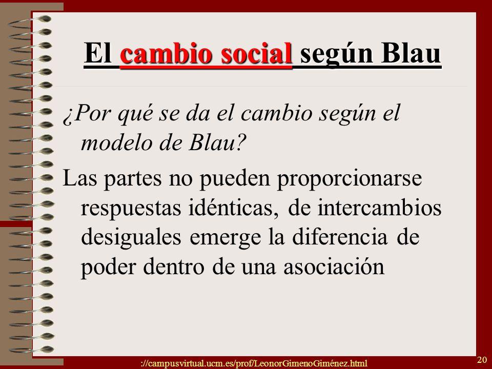 ://campusvirtual.ucm.es/prof/LeonorGimenoGiménez.html 20 El cambio social según Blau ¿Por qué se da el cambio según el modelo de Blau? Las partes no p