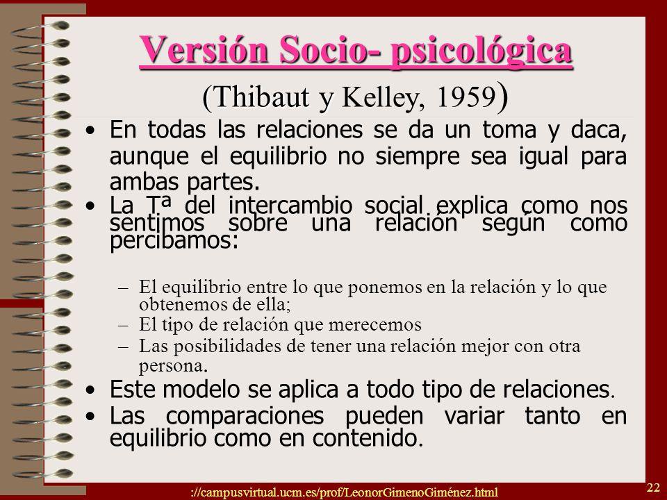 ://campusvirtual.ucm.es/prof/LeonorGimenoGiménez.html 22 Versión Socio- psicológica (Thibaut y Versión Socio- psicológica (Thibaut y Kelley, 1959 ) En