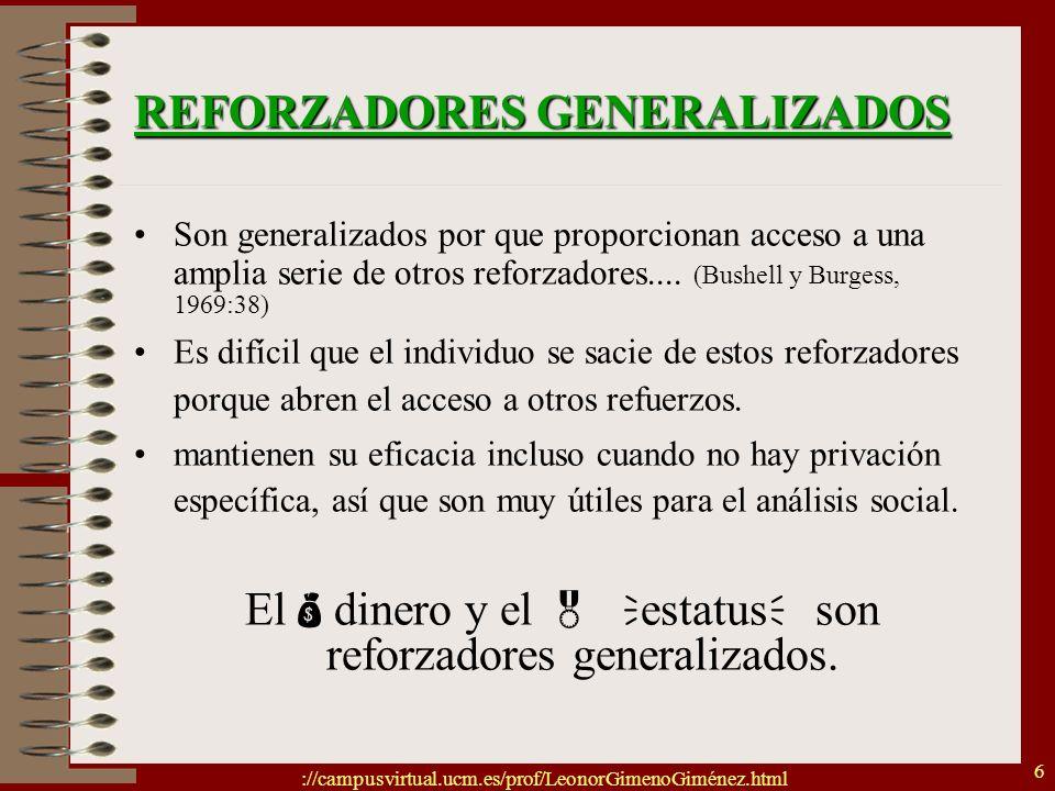://campusvirtual.ucm.es/prof/LeonorGimenoGiménez.html 6 REFORZADORES GENERALIZADOS Son generalizados por que proporcionan acceso a una amplia serie de
