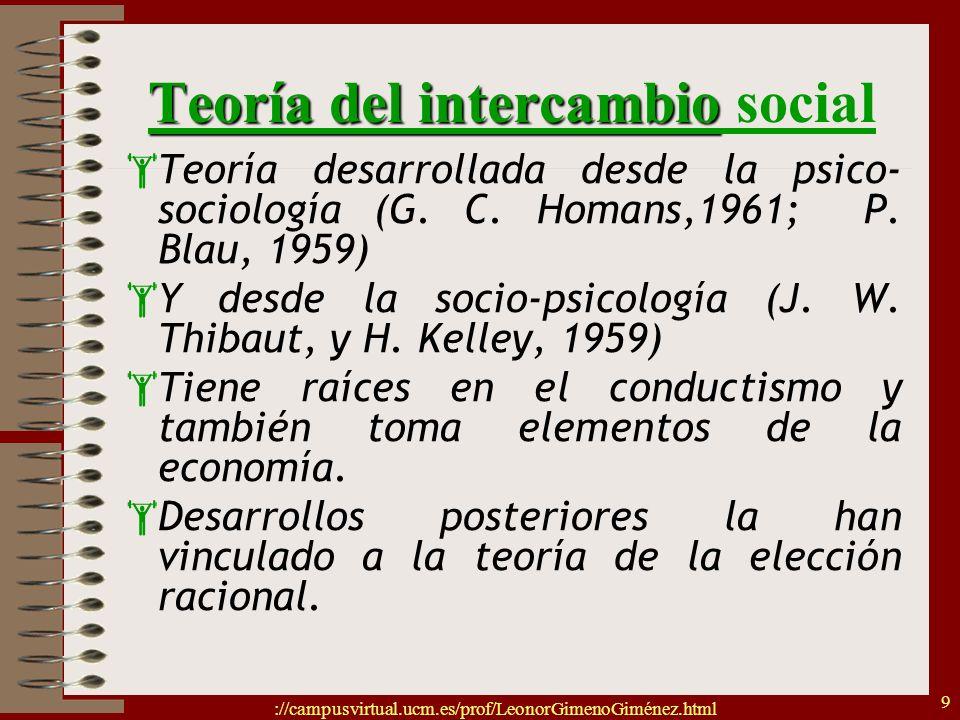 ://campusvirtual.ucm.es/prof/LeonorGimenoGiménez.html 9 Teoría del intercambio Teoría del intercambio social Teoría desarrollada desde la psico- socio
