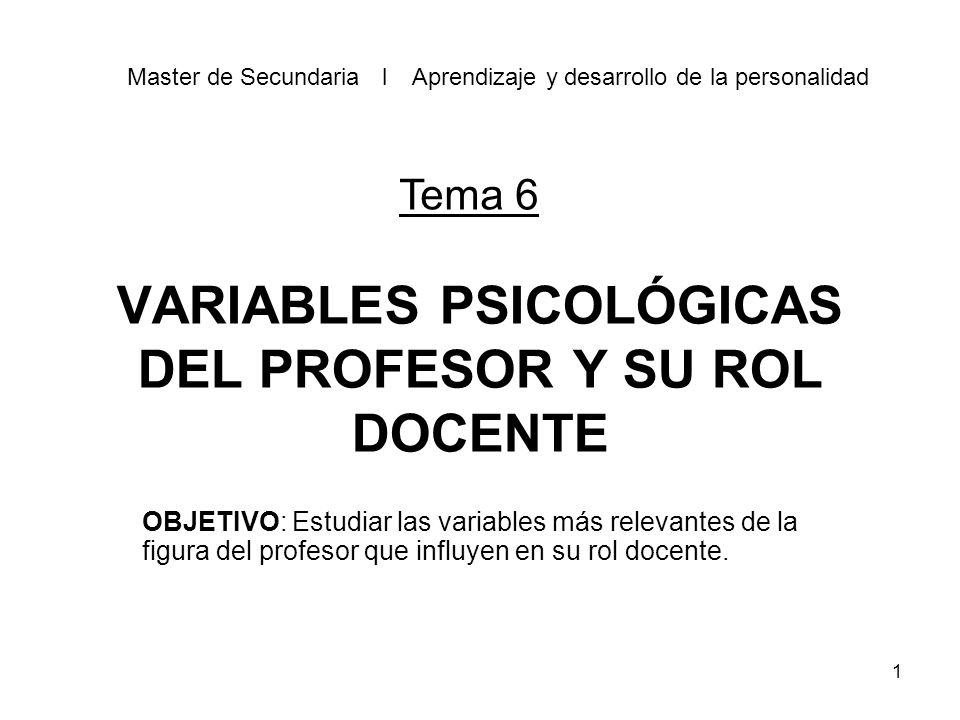 1 VARIABLES PSICOLÓGICAS DEL PROFESOR Y SU ROL DOCENTE OBJETIVO: Estudiar las variables más relevantes de la figura del profesor que influyen en su rol docente.