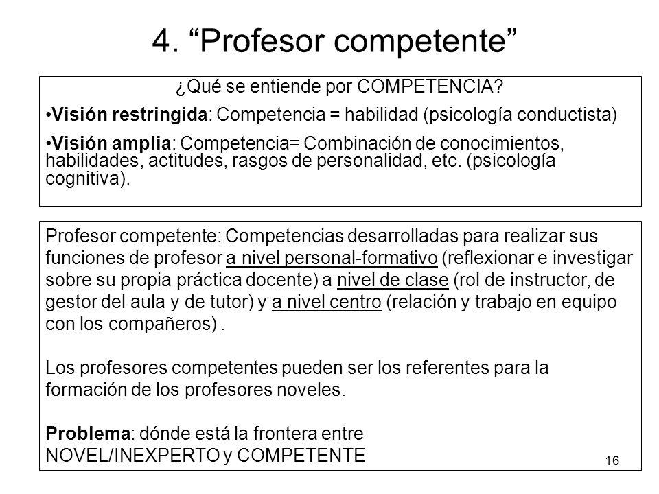 16 4.Profesor competente ¿Qué se entiende por COMPETENCIA.