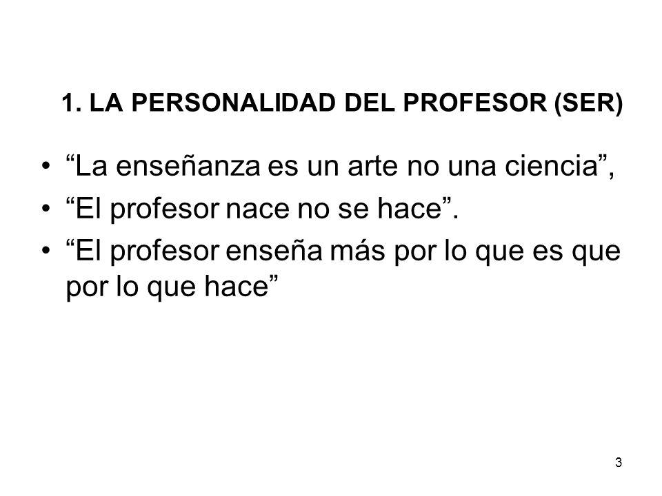 3 1. LA PERSONALIDAD DEL PROFESOR (SER) La enseñanza es un arte no una ciencia, El profesor nace no se hace. El profesor enseña más por lo que es que