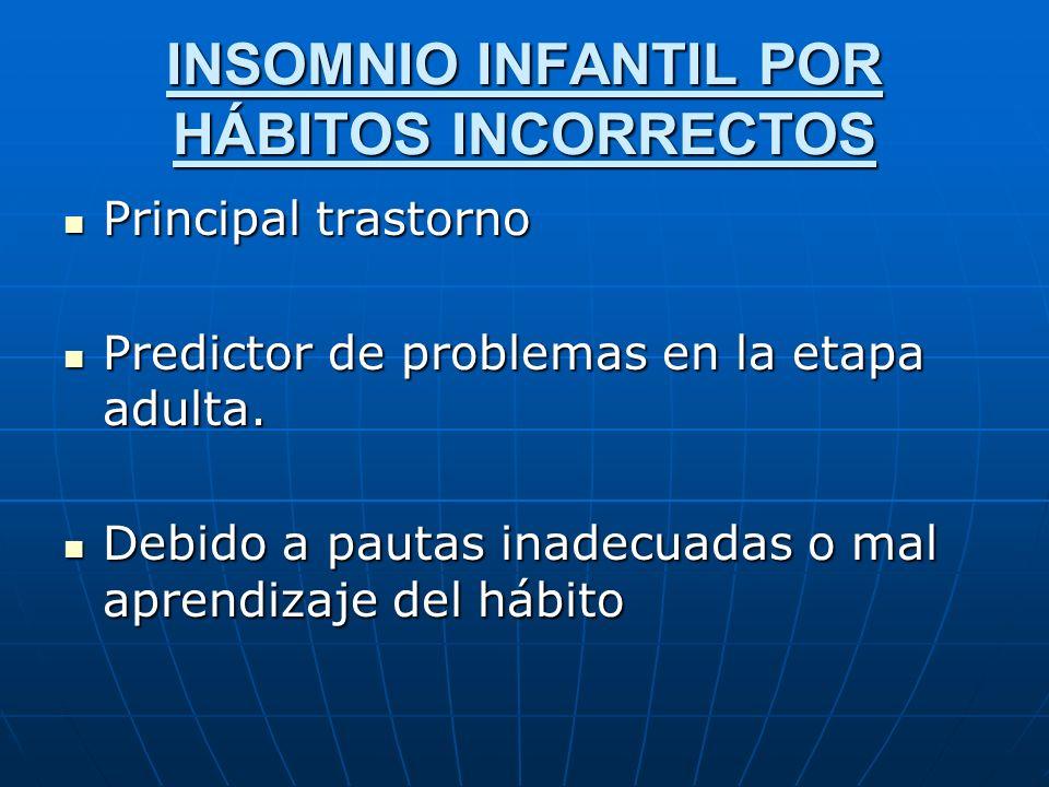 INSOMNIO INFANTIL POR HÁBITOS INCORRECTOS Principal trastorno Principal trastorno Predictor de problemas en la etapa adulta. Predictor de problemas en