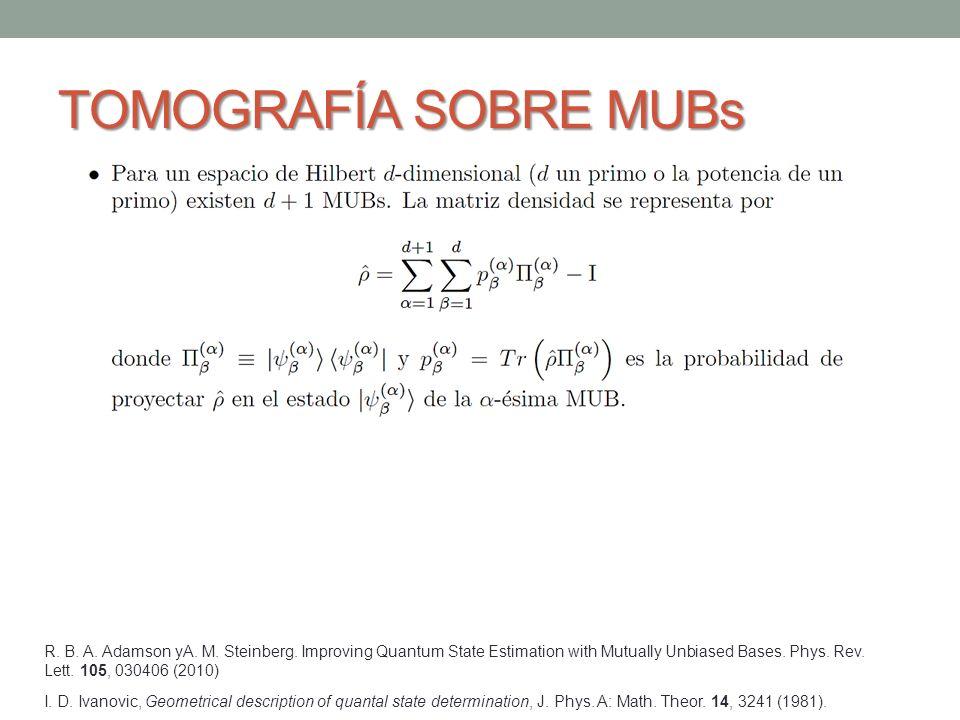 TOMOGRAFÍA SOBRE MUBs I.D. Ivanovic, Geometrical description of quantal state determination, J.