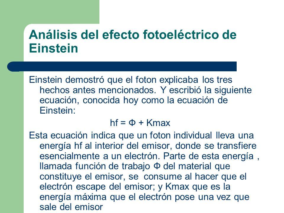 Análisis del efecto fotoeléctrico de Einstein Einstein demostró que el foton explicaba los tres hechos antes mencionados. Y escribió la siguiente ecua