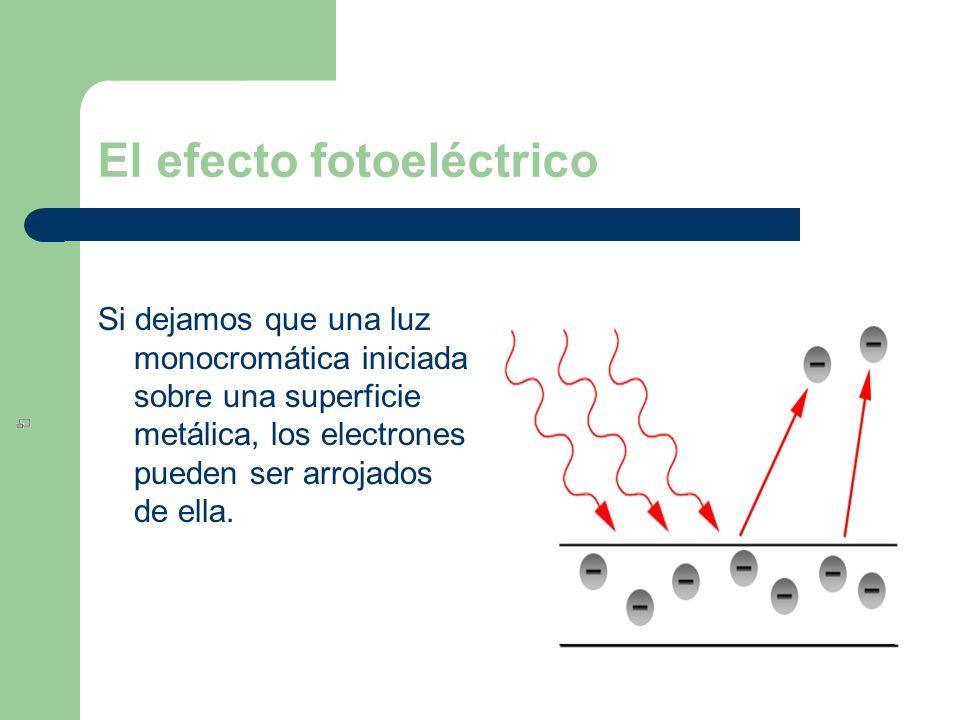 El efecto fotoeléctrico Si dejamos que una luz monocromática iniciada sobre una superficie metálica, los electrones pueden ser arrojados de ella.