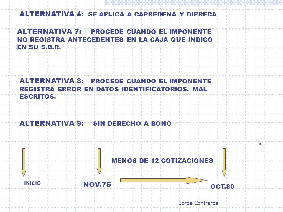 ALTERNATIVA 4: SE APLICA A CAPREDENA Y DIPRECA ALTERNATIVA 7: PROCEDE CUANDO EL IMPONENTE NO REGISTRA ANTECEDENTES EN LA CAJA QUE INDICO EN SU S.B.R.