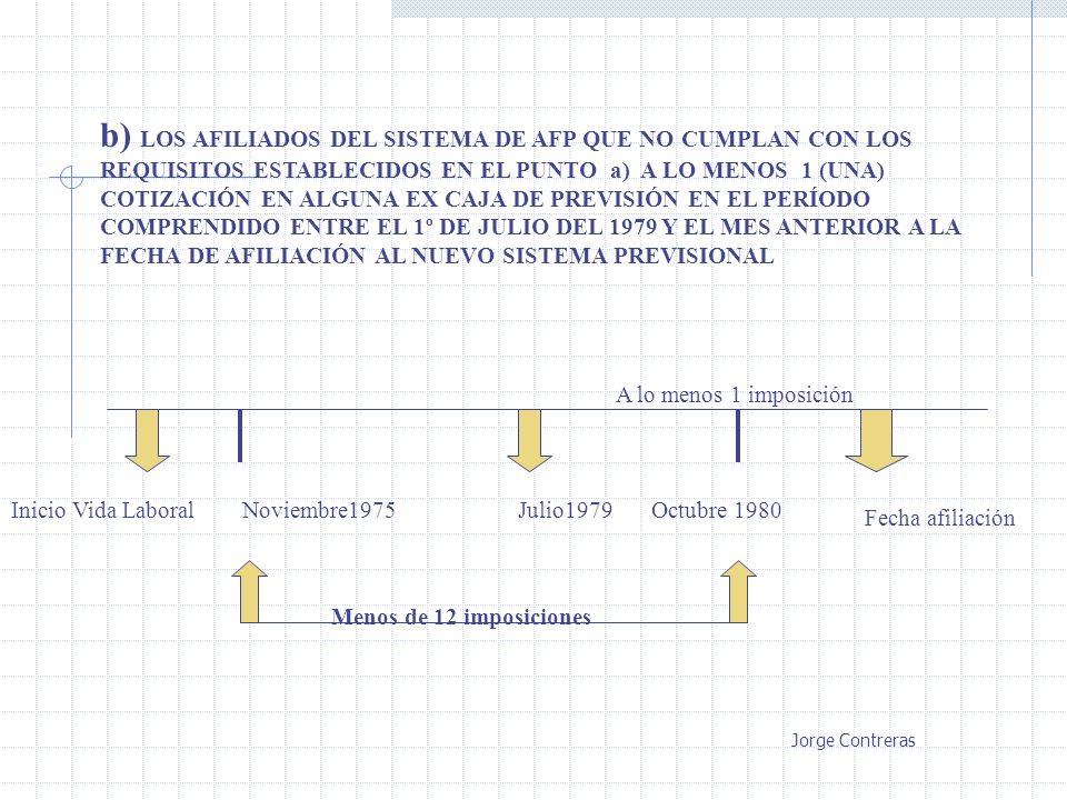 b) LOS AFILIADOS DEL SISTEMA DE AFP QUE NO CUMPLAN CON LOS REQUISITOS ESTABLECIDOS EN EL PUNTO a) A LO MENOS 1 (UNA) COTIZACIÓN EN ALGUNA EX CAJA DE P