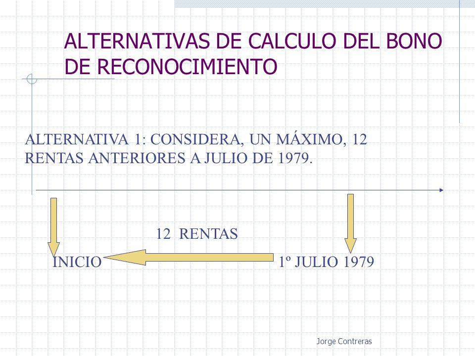 ALTERNATIVAS DE CALCULO DEL BONO DE RECONOCIMIENTO ALTERNATIVA 1: CONSIDERA, UN MÁXIMO, 12 RENTAS ANTERIORES A JULIO DE 1979. 12 RENTAS INICIO1º JULIO
