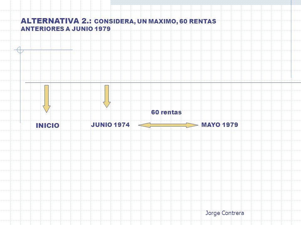 ALTERNATIVA 2.: CONSIDERA, UN MAXIMO, 60 RENTAS ANTERIORES A JUNIO 1979 INICIO JUNIO 1974MAYO 1979 60 rentas Jorge Contrera