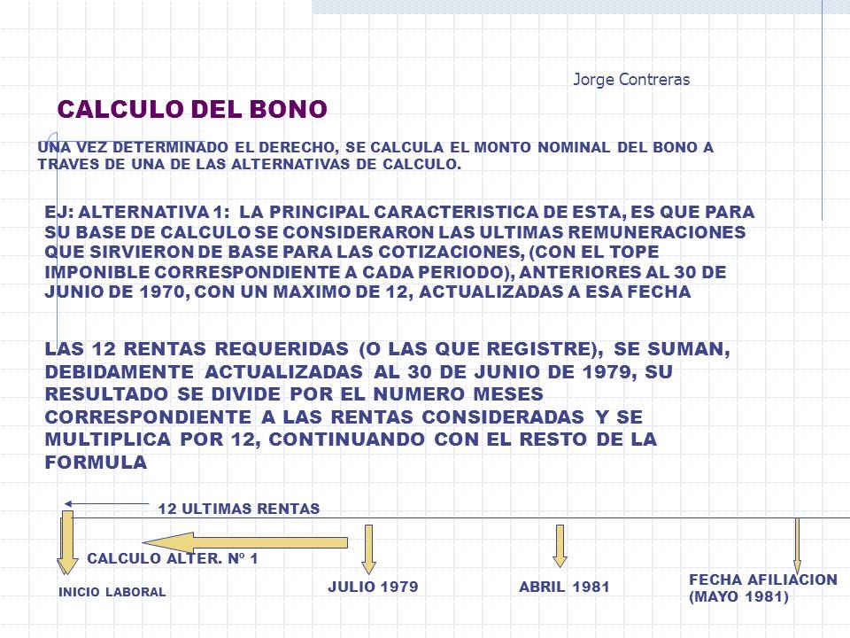 CALCULO DEL BONO UNA VEZ DETERMINADO EL DERECHO, SE CALCULA EL MONTO NOMINAL DEL BONO A TRAVES DE UNA DE LAS ALTERNATIVAS DE CALCULO. EJ: ALTERNATIVA