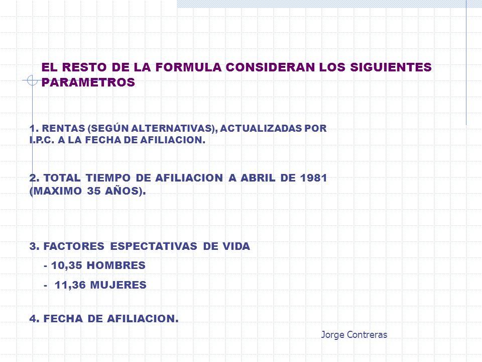 EL RESTO DE LA FORMULA CONSIDERAN LOS SIGUIENTES PARAMETROS 1. RENTAS (SEGÚN ALTERNATIVAS), ACTUALIZADAS POR I.P.C. A LA FECHA DE AFILIACION. 2. TOTAL