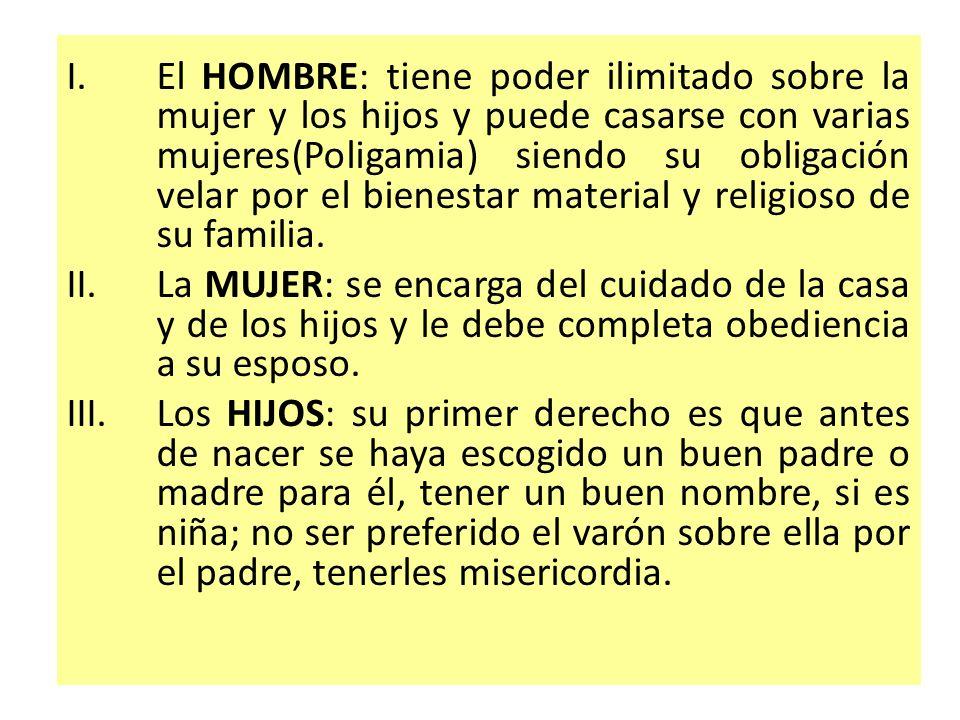 I.El HOMBRE: tiene poder ilimitado sobre la mujer y los hijos y puede casarse con varias mujeres(Poligamia) siendo su obligación velar por el bienesta