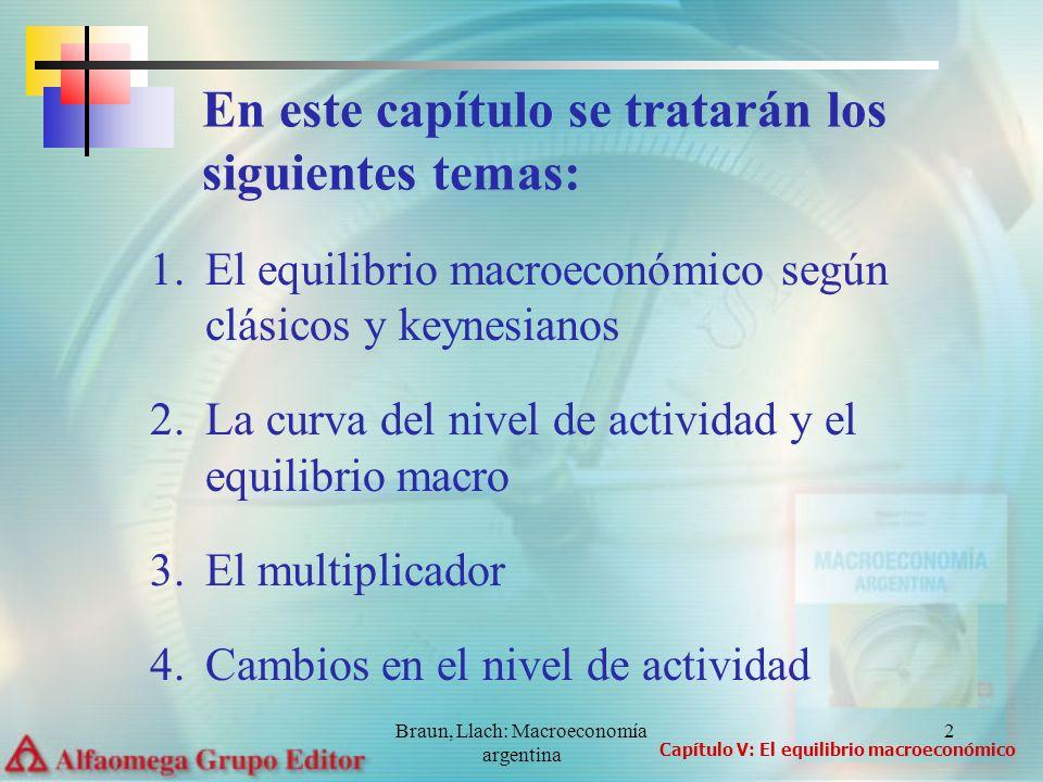 Braun, Llach: Macroeconomía argentina 3 Las fluctuaciones económicas pueden ocurrir por dos razones: a)porque cambia el producto potencial b)porque cambia la utilización de los recursos productivos, sin variaciones en el producto potencial Clásicos versus keynesianos Capítulo V: El equilibrio macroeconómico
