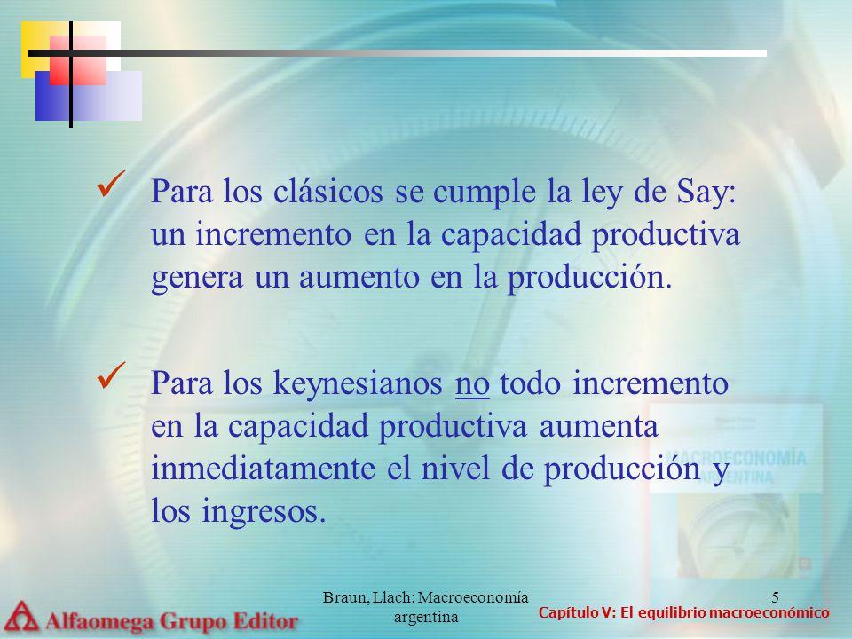 Braun, Llach: Macroeconomía argentina 6 Diferencias en la velociadad de ajuste: a) Para los clásicos el ajuste es inmediato b) Para los keynesianos el ajuste lleva tiempo El debate entre clásicos y keynesianos gira alrededor del concepto de equilibrio macroeconómico de corto plazo: una situación tal en la que el producto vigente es igual al producto potencial Capítulo V: El equilibrio macroeconómico