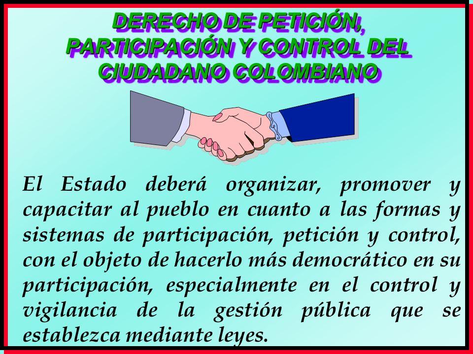 DERECHO DE PETICIÓN, PARTICIPACIÓN Y CONTROL DEL CIUDADANO COLOMBIANO El Estado deberá organizar, promover y capacitar al pueblo en cuanto a las forma