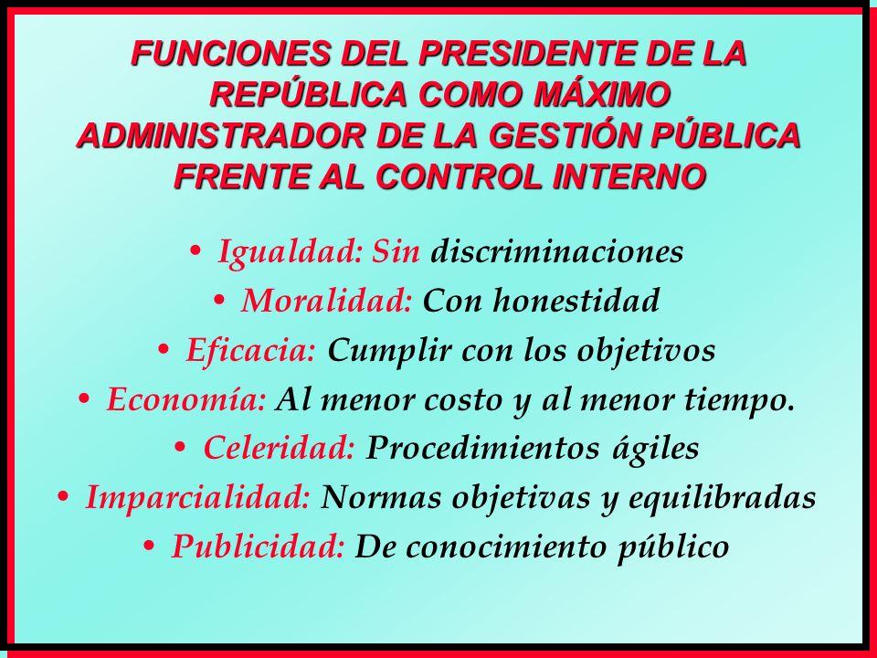FUNCIONES DEL PRESIDENTE DE LA REPÚBLICA COMO MÁXIMO ADMINISTRADOR DE LA GESTIÓN PÚBLICA FRENTE AL CONTROL INTERNO Igualdad: Sin discriminaciones Mora