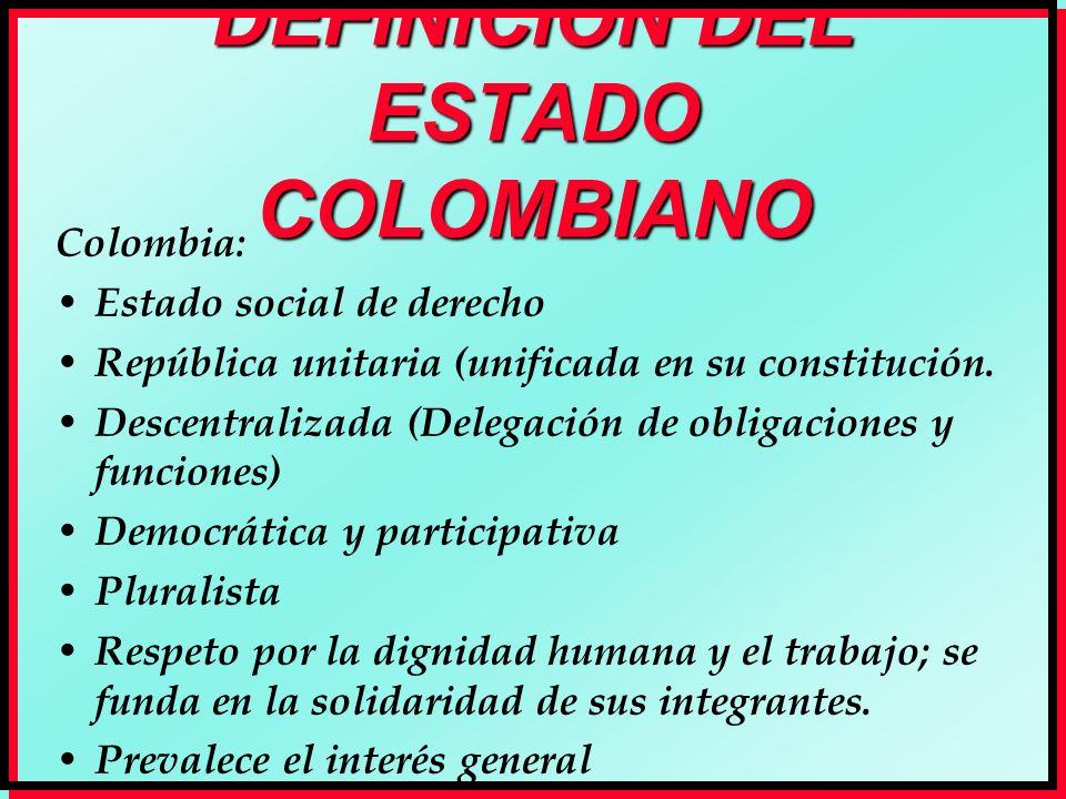 DEFINICIÓN DEL ESTADO COLOMBIANO Colombia: Estado social de derecho República unitaria (unificada en su constitución. Descentralizada (Delegación de o