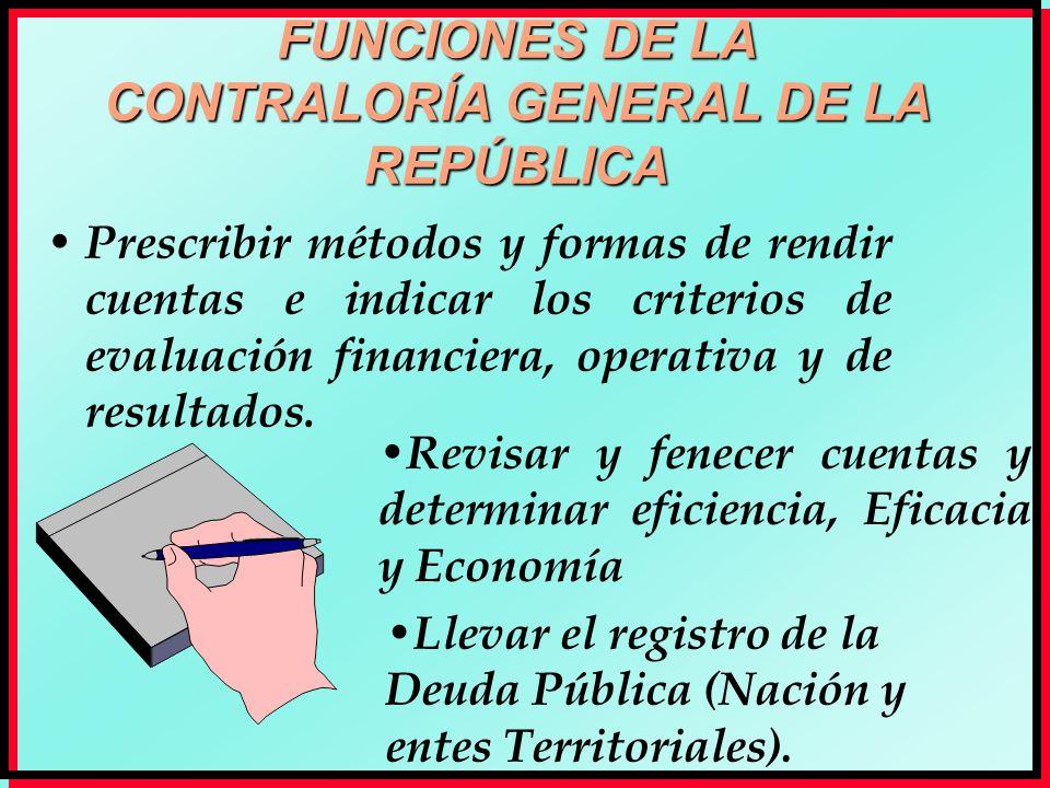 FUNCIONES DE LA CONTRALORÍA GENERAL DE LA REPÚBLICA Prescribir métodos y formas de rendir cuentas e indicar los criterios de evaluación financiera, op