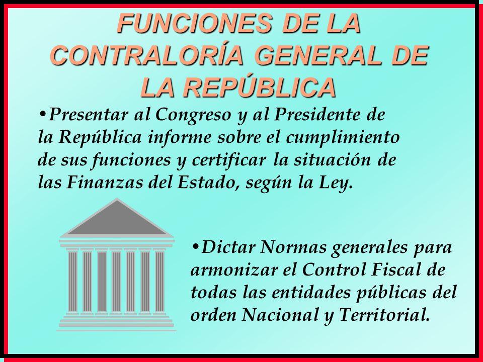 FUNCIONES DE LA CONTRALORÍA GENERAL DE LA REPÚBLICA Presentar al Congreso y al Presidente de la República informe sobre el cumplimiento de sus funcion