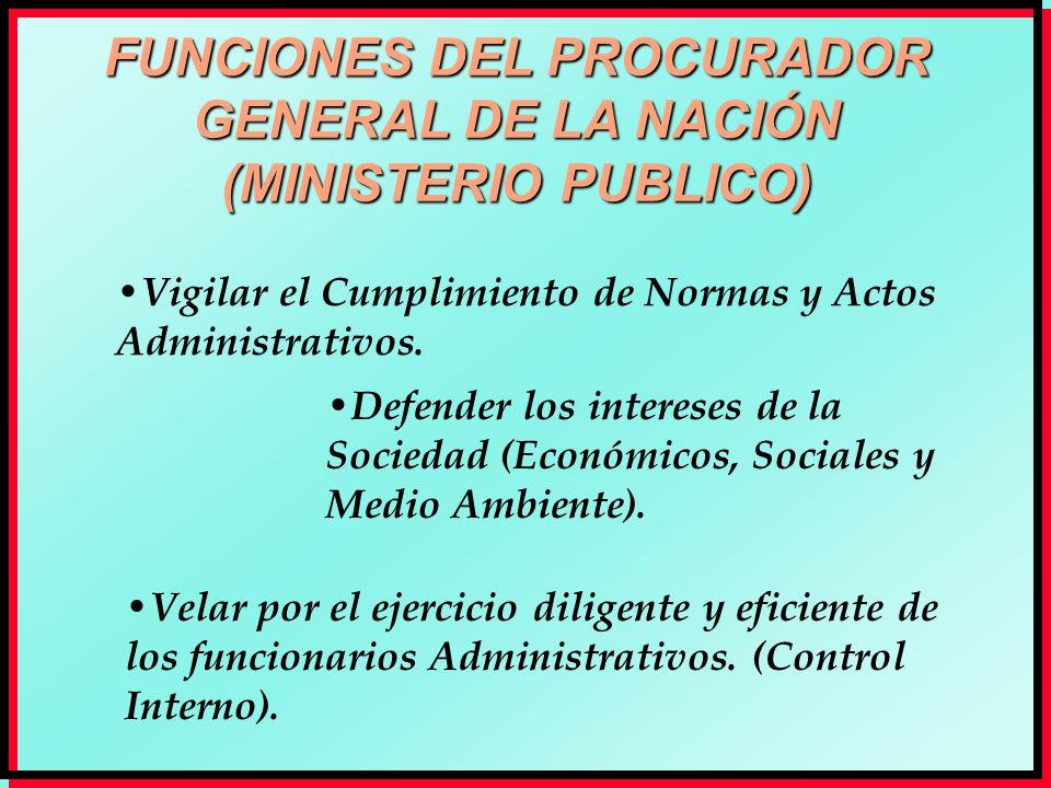 FUNCIONES DEL PROCURADOR GENERAL DE LA NACIÓN (MINISTERIO PUBLICO) Vigilar el Cumplimiento de Normas y Actos Administrativos. Defender los intereses d