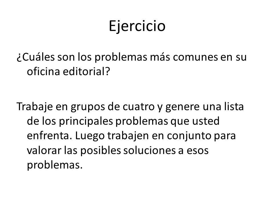 Ejercicio ¿Cuáles son los problemas más comunes en su oficina editorial? Trabaje en grupos de cuatro y genere una lista de los principales problemas q