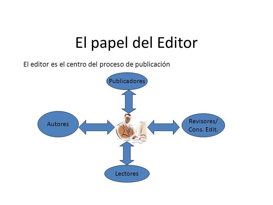 El papel del Editor El editor es el centro del proceso de publicación Autores Revisores/ Cons. Edit. Lectores Publicadores