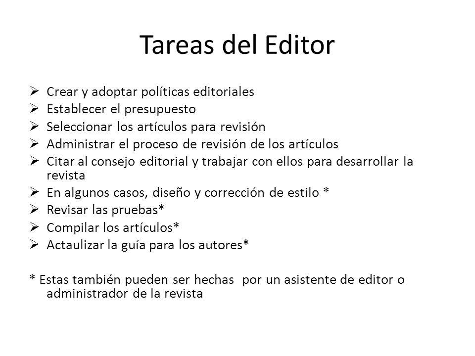 Tareas del Editor Crear y adoptar políticas editoriales Establecer el presupuesto Seleccionar los artículos para revisión Administrar el proceso de re