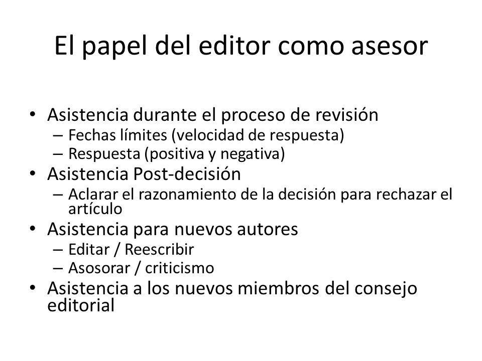 El papel del editor como asesor Asistencia durante el proceso de revisión – Fechas límites (velocidad de respuesta) – Respuesta (positiva y negativa)