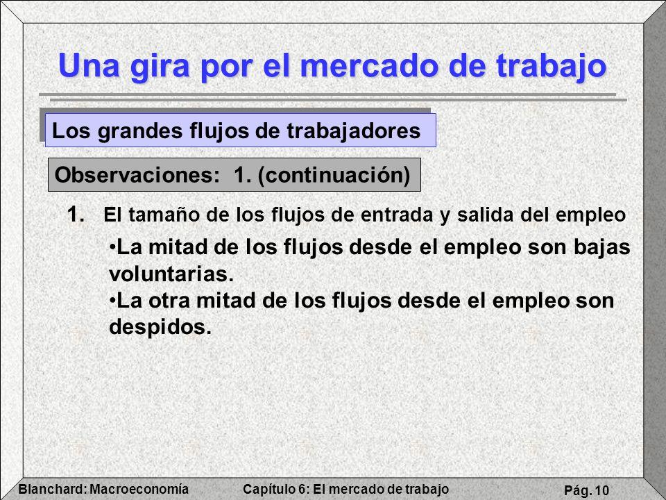 Capítulo 6: El mercado de trabajoBlanchard: Macroeconomía Pág. 10 Una gira por el mercado de trabajo Los grandes flujos de trabajadores Observaciones: