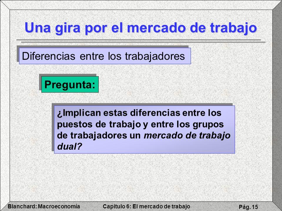 Capítulo 6: El mercado de trabajoBlanchard: Macroeconomía Pág. 15 Una gira por el mercado de trabajo Diferencias entre los trabajadores Pregunta: ¿Imp
