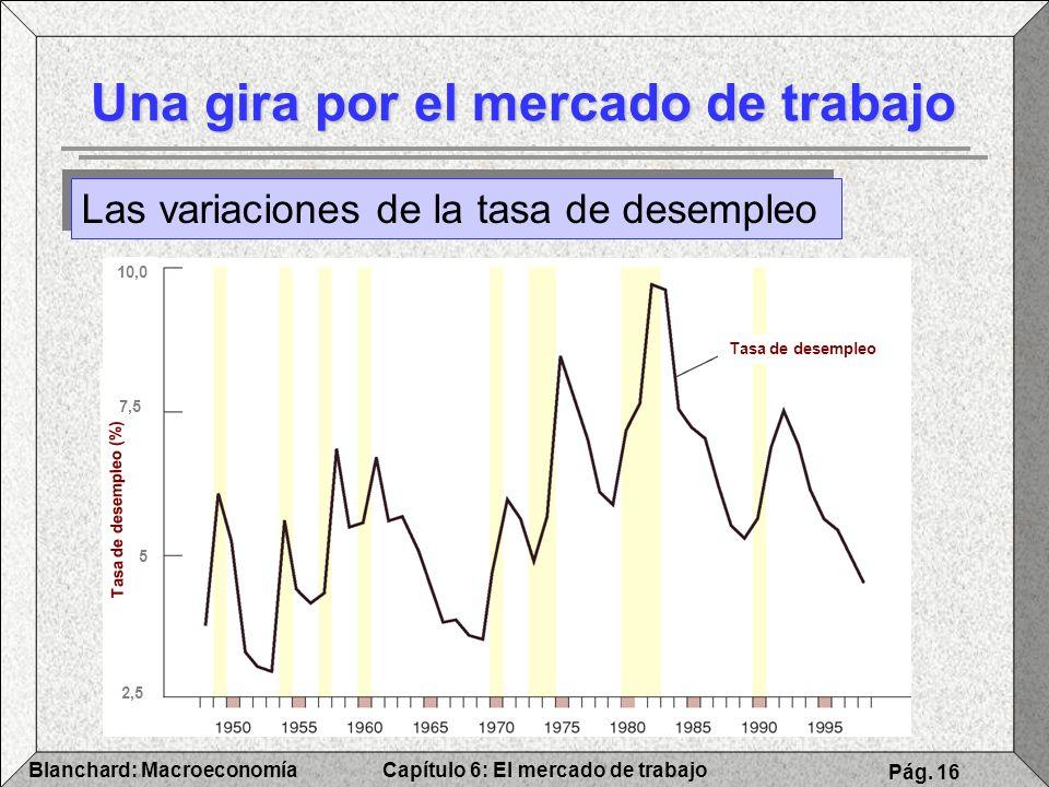 Capítulo 6: El mercado de trabajoBlanchard: Macroeconomía Pág. 16 Una gira por el mercado de trabajo Las variaciones de la tasa de desempleo Tasa de d