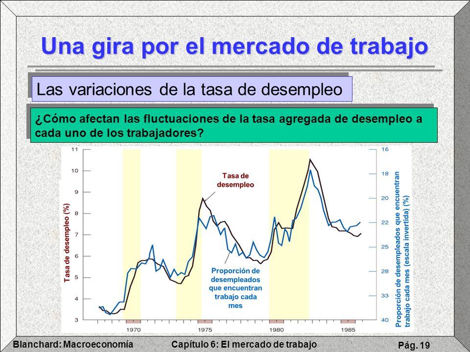 Capítulo 6: El mercado de trabajoBlanchard: Macroeconomía Pág. 19 Una gira por el mercado de trabajo Las variaciones de la tasa de desempleo ¿ Cómo af